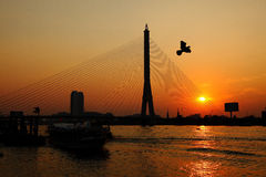 Bridge. Beautiful bridge with sunset at Bangkok,Thailand Royalty Free Stock Photos