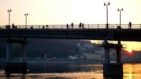 Bridge walk people sunset stock footage