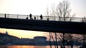 Bridge walk people sunset. Bridge beautiful walk people sunset stock video footage