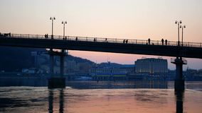 Bridge walk people sunset. Bridge beautiful walk people sunset stock video