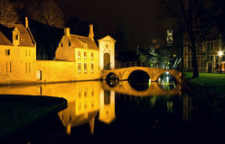 The Bridge and the Convent entrance in Bruges Stock Photography