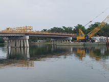 Bridge being reconstructed. Royalty Free Stock Photo