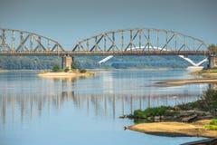 bridge berömd infrastruktur över bråckbandet vistula för poland flodtorun trans Transport Arkivbilder