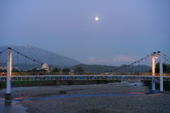 Bridge in berat, Albania. A beautiful bridge in Berat Albania, beneath the moon during the blue hour Royalty Free Stock Image