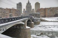 Bridge on Beregkovskaya street in Moscow Stock Photo