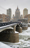 Bridge on Beregkovskaya street in winter Moscow Stock Images