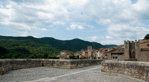 On the bridge of Besalu Catalunya Spain Royalty Free Stock Photos