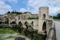 Bridge of Besalu, Gerona, Spain Stock Photo