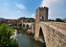 Bridge of Besalu, Spain. The medieval fortified bridge in Besalu, Spain Stock Photography