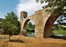 Bridge of Besalu, Spain. The medieval fortified bridge in Besalu, Spain Royalty Free Stock Photos