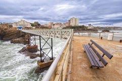 Rocher de la Vierge in Biarritz Stock Images