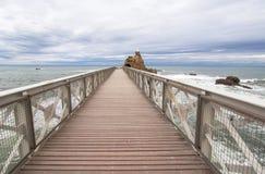 Rocher de la Vierge in Biarritz Royalty Free Stock Photo
