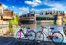 Bridge, bicycles and canal. Ghent, Belghium Royalty Free Stock Photos