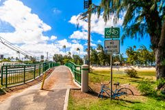 Bridge and bike lane in tropical Kailua Beach in Oahu Royalty Free Stock Photo