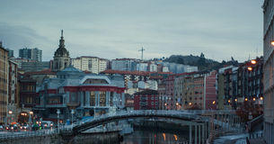 Bridge in Bilbao at evening Royalty Free Stock Images