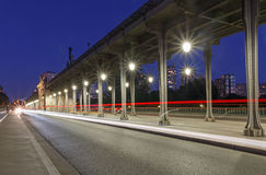 Bridge Bir-Hakeim in Paris. At night Stock Photography