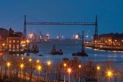 Bridge of Bizkaia tonight Royalty Free Stock Image