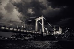 Bridge, Black And White, Sky, Cloud stock photo