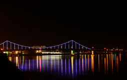 The bridge with blue backlight Stock Photography