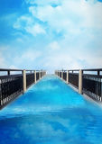 The bridge blue sky nature background, poster, business flyer te Royalty Free Stock Images