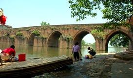 Bridge and boat in China Royalty Free Stock Photos