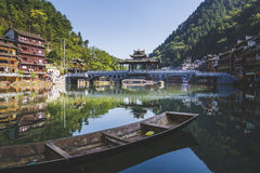 Bridge and boat in Fenghuang County. UNESCO World Heritage site in China Stock Image