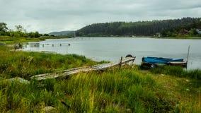 Bridge. And boat in the Karelia Stock Photos