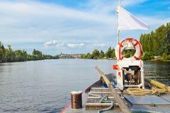 The bridge of the boat on the Vltava river Stock Photos
