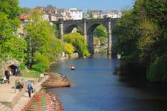 Bridge & boats on river Nidd, Knaresborough, UK Stock Images