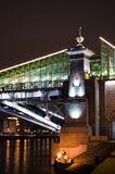 Night bridge in Moscow stock photography