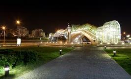 Bridge Bogdan Khmelnitsky (near the Kiyevskaya railway station) lit at night, Moscow, Russia Stock Images