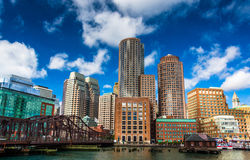 A bridge and the Boston Skyline, seen from Fort Point. Stock Images