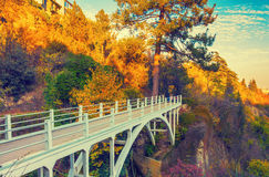 Bridge in botanical garden in Tbilisi. Bridge in autumn  botanical garden in Tbilisi, Georgia country Royalty Free Stock Image