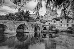 Bridge in Bourdeilles. A bridge in the picturesque town of Bourdeilles, in the Perigord Vert region of France Royalty Free Stock Photos