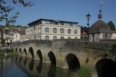 Town Bridge Bradford-Upon-Avon in Wiltshire. Bridge in Bradford-Upon-Avon Town Centre Wiltshire Stock Photo