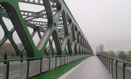 Bridge Bratislava. Green metal bridge over river. New. Bratislava Stock Photos