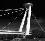 Bridge in Bratislava,, Slovakia. Restauration Ufo on the New bridge in Bratislava, Slovakia Stock Photo