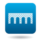 Bridge of brick with arches icon, simple style. Bridge of brick with arches icon in simple style on a white background royalty free illustration