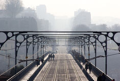 Bridge, brig, causeway, infinite, endless, boundless, infinitive, ilimitable, mist, fog, haze, cloud, blur, city, skyline, oporto, Stock Photos