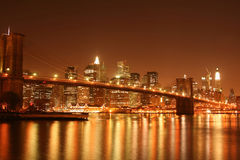 bridge brooklyn manhattan night skyline Στοκ Εικόνες