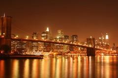 bridge brooklyn manhattan night skyline Στοκ Εικόνες