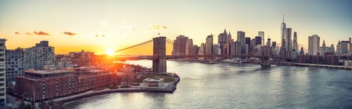 bridge brooklyn manhattan sunset Στοκ Εικόνες