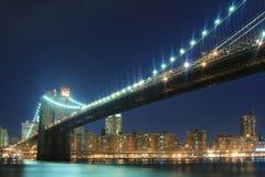 bridge brooklyn night Στοκ Εικόνες