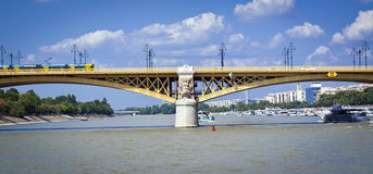 Bridge in Budapest. Bridge over the river of Danube in Budapest royalty free stock images
