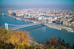 Bridge of Budapest on an autumn day. Panoramic view. Stock Photo