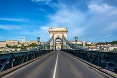 Bridge and Budapest Cityscape. Cityscape of Budapest, Hungary seen from the Szechenyi Chain Bridge royalty free stock photo