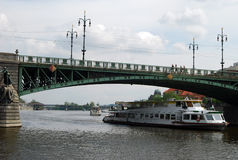 Bridge, Budapest, Hungary. Bridge over the Danube river and boat on the river, Budapest, Hungary stock photo