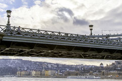 Bridge in Budapest. Bridge over the Danube River in Budapest, Hungary Royalty Free Stock Photo