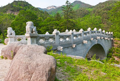 The bridge at Buddhist Sinheungsa Temple. In Seoraksan National Park, South korea Royalty Free Stock Image