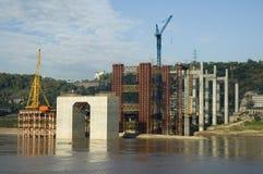 Bridge building. Building a bridge over the Yangtze River in China Stock Photo